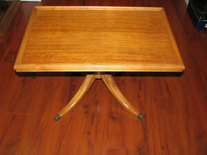 Vintage Wood Coffee Table with Brass Claw Feet Deilcraft