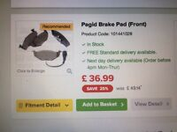 Pagid front brake pads for VW Polo 9N
