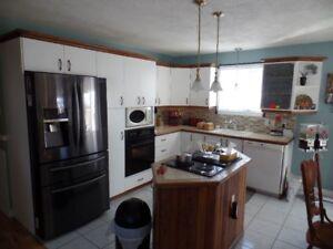 armoires de cuisine  ilot plaque four lavabo