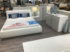 """""""ROKSANA"""" BEDROOM SET - GLOSSY WHITE – QUEEN BED– MADE IN EUROE"""