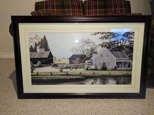 "Decor Print  of Farm Scene  28"" X44"" , dark choclate frame"