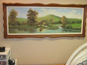 Peinture contemporaine, scène de lac, signé Romano