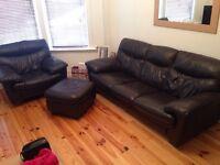 Leather DFS sofa dark brown