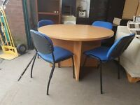 Round meeting room table with 4 chairs