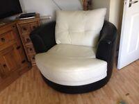New Leather Bucket Swivel Chair