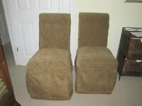 2 Slip Covered Parsons Chairs