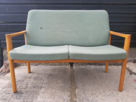 Vintage retro Danish mid century wool 2 seater sofa couch reupholstery