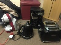X 2 coffee machines, toaster and kettle