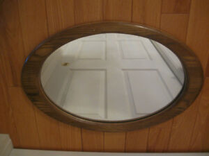 ATTRACTIVE OAK-FRAMED OVAL WALL MIRROR
