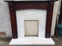 Timber Fire Place with Marble Backing Plate and Hearth