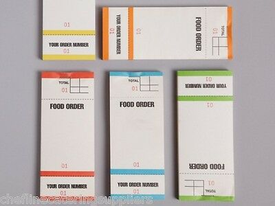 5 x Food Order Pads Numbered 1-100 Coloured Bar Restaurant Waiter Book Pads