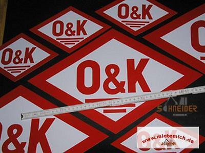 Aufkleber O&K 22x14cm (altes Logo,Rautenform)Orenstein & Koppel 3 versch.Grössen