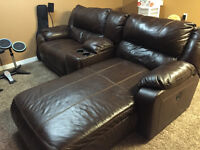 3 pc Leather reclining chair and chaise lounge set