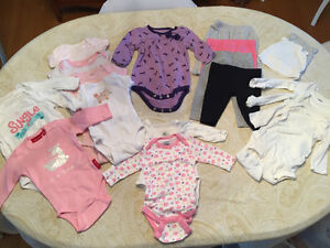 0 to 3 and 3 month leggings, onesies, and hats