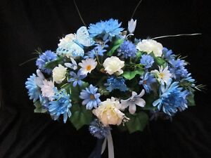 headstone flower arrangment saddles