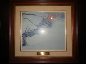 Canadian winter picture with wood frame