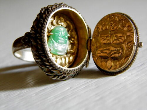 Vintage Asian Adjustable SILVER Lapis Lazuli Jadeite Buddha Ring
