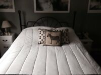 Queen size bedframe, box spring and headboard