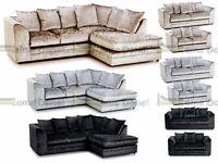 **UP TO 5 YEAR WARRANTY!!** Arabia Luxury Crushed Velvet Corner Sofa or 3 and 2 Set - SAME DAY!