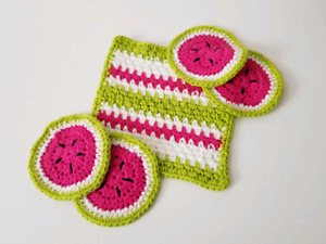 Brand new handmade set of 4 watermelon coasters and dishcloth