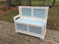 Distressed Wooden Bench with storage