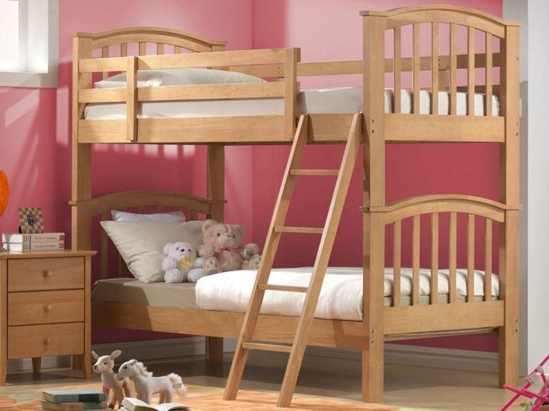 Joseph Solid Wood Maple Finish Bunk Bed With Trundle Bed Its