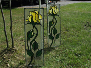 2 Stained Glass Yellow Roses For Windows
