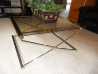 Chrome/glass coffee table and 2 end tables