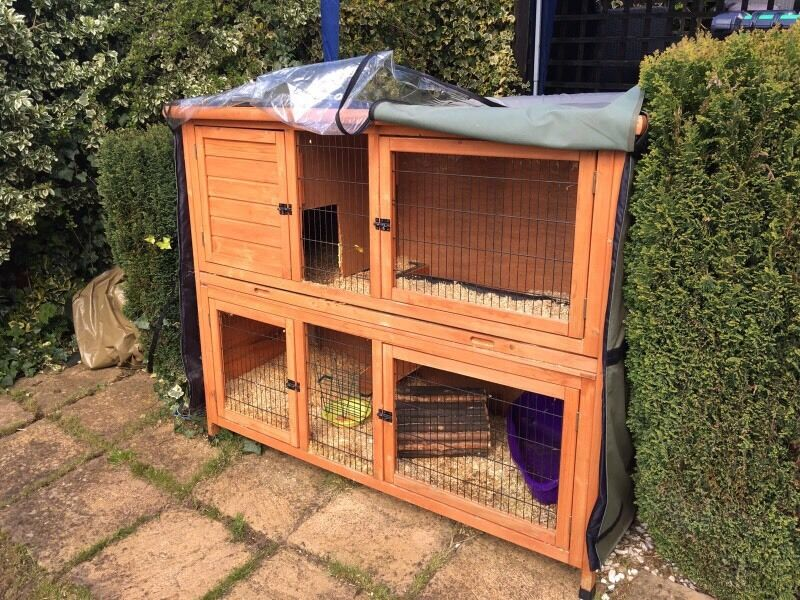 Double rabbit hutch/ thermal hutch cover and rabbit run - Double Rabbit Hutch/ Thermal Hutch Cover And Rabbit Run In