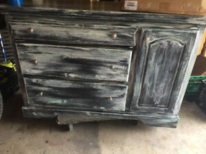 RUSTIC BARNWOOD FAUX FINISH DRESSER ANS SIDE TABLE