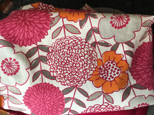 Pink, orange and grey floral curtains