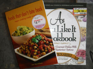 Box full of cookbooks on healthy eating and vegetarian cooking