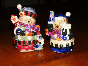 Vintage Porcelain Christmas-Bears Salt and Pepper Shackers