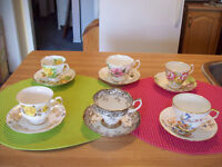 6 ANTIQUE TEA CUPS   * MADE IN ENGLAND**  -