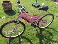"""Ladies pink full suspension mountain bike 26"""" wheels"""