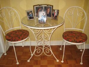 Glass and metal breakfast table set.....CAFE  TABLE & CHAIRS