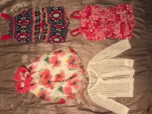Like New! (3) Short Rompers (1) Sweater