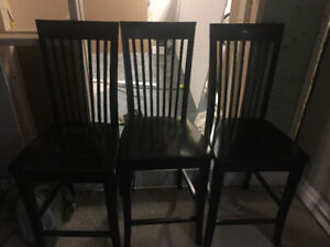 3 black stools/chairs ( counter height) not bar height
