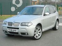 2008 08 REG BMW X3 3.0sd AUTO M SPORT WITH BLACK LEATHER+SAT NAV+FSH