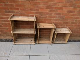 3 Wooden Storage Units Shelves Storage