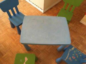 Ikea children`s table - Mammut  with 4 chairs