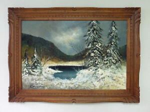 Oil Painting of Winter Landscape