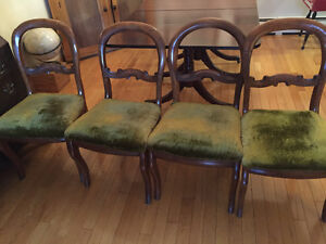 Pedestal table and 4 butcher like chairs.