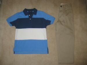Boys Lands End Golf Shirt And Gap Pants