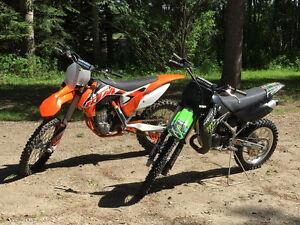 2015 KTM 450 SX-F and 2009 Kawasaki KX 100