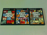 Grand theft auto 3, vice city and San Andreas PS2