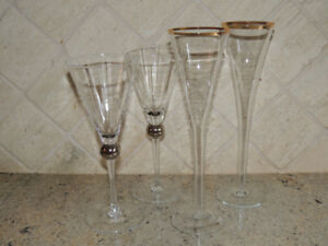 2 pair Champagne glasses