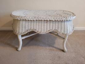 Unique White wicker coffee table