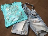 River island t shirt and jean shorts