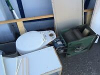Free cabinets, toilet, sink, shelving etc.